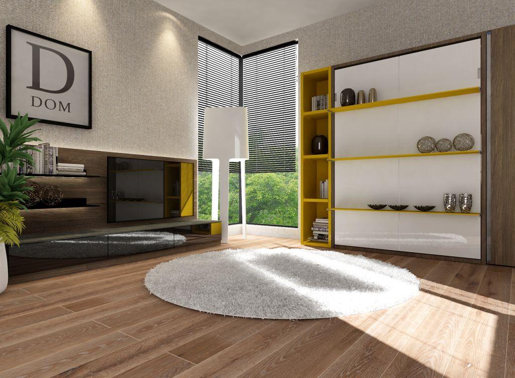 Smartbed Book pionowe łóżko w szafie rozkładane z półkami