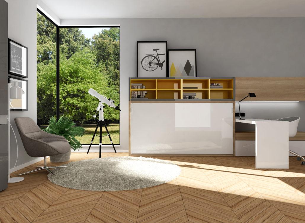 Smartbed O podwójne poziome łóżko w szafie rozkładane