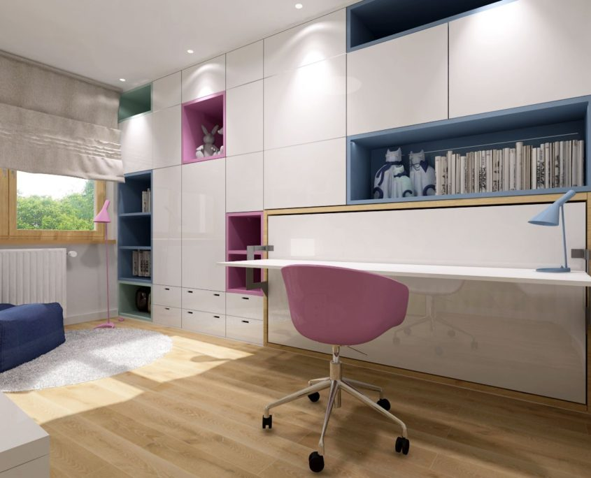 Smartbed Single poziome łóżko schowane w szafie z biurkiem