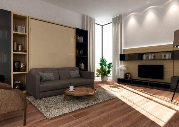 Smartbed V podwójne pionowe łóżko w szafie z sofą