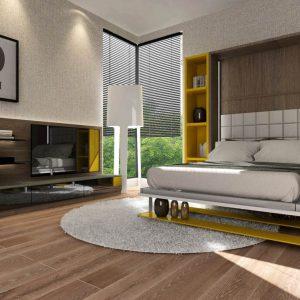 Smartbed Book pionowe łóżko w szafie z półkami