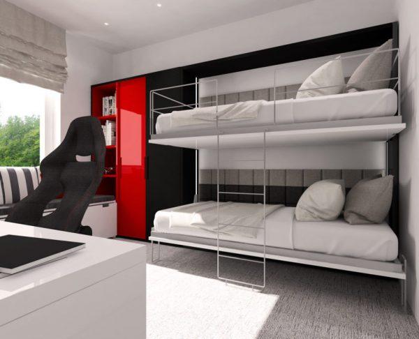 Smartbed Twin poziome łózko piętrowe w szafie