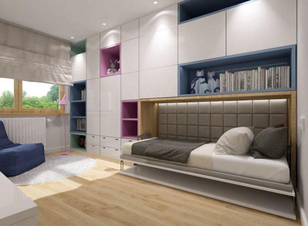 Smartbed Single poziome łóżko w szafie z biurkiem