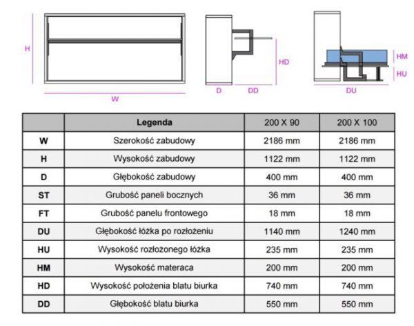 rozmiary Smartbed Single poziome łóżko w szafie z biurkiem